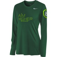 St. Stephen's Academy 25: Nike Women's Legend Long-Sleeve Training Top with Aim Higher Logos - Green